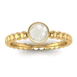 Fairtrade Gold FAITH Crystal Quartz Stacking Ring - Jeweller's Loupe