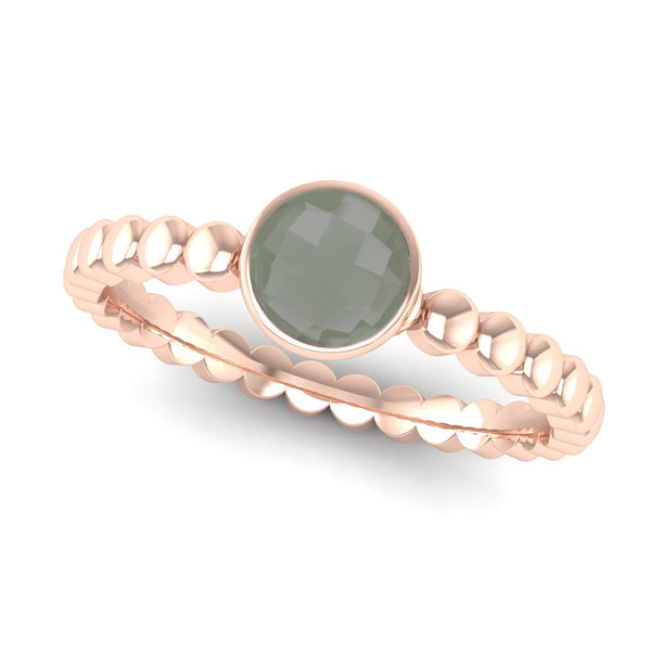 FAITH Green Amethyst Beaded Stacking Ring - Jeweller's Loupe
