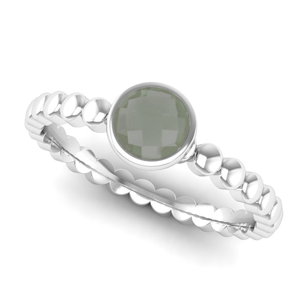 Ethically-sourced Platinum FAITH Green Amethyst Stacking Ring - Jeweller's Loupe