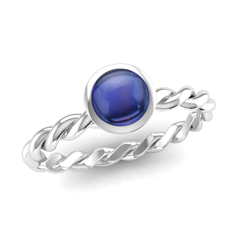 DREAM Kyanite Twist Stacking Ring in Fairtrade Silver, Jeweller's Loupe Hope Collection
