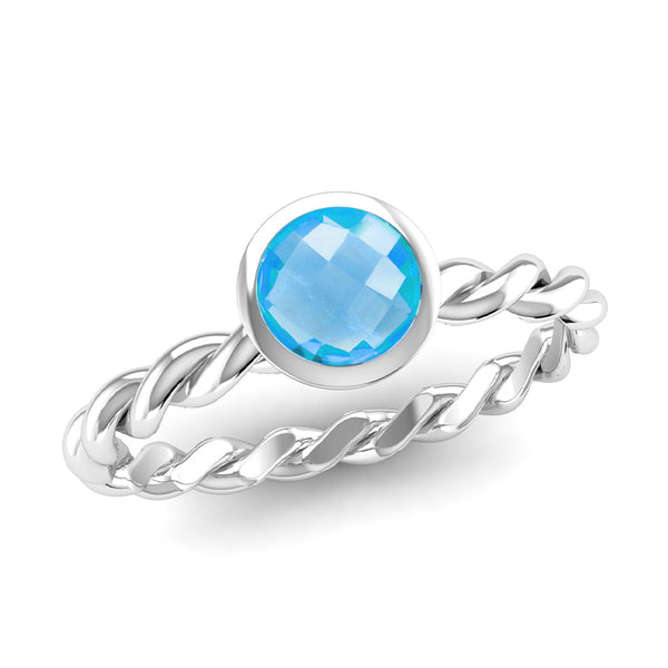 DREAM Blue Topaz Twist Stacking Ring - Jeweller's Loupe