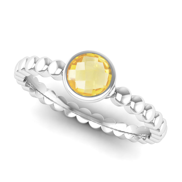 Fairtrade Silver FAITH Citrine Stacking Ring - Jeweller's Loupe