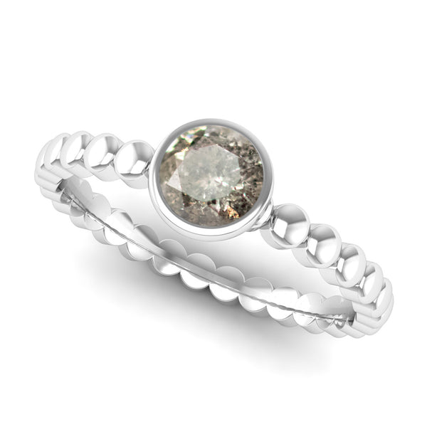 Ethically-sourced Platinum FAITH Salt and Pepper Diamond Stacking Ring - Jeweller's Loupe