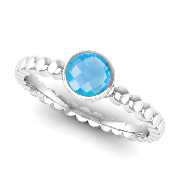 Ethically-sourced Platinum FAITH Blue Topaz Stacking Ring - Jeweller's Loupe