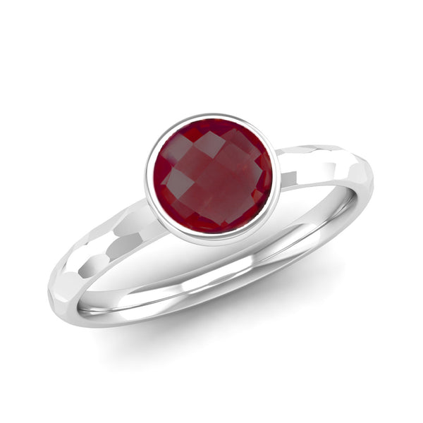 JOY Garnet Hammered-effect Stacking Ring - Jeweller's Loupe