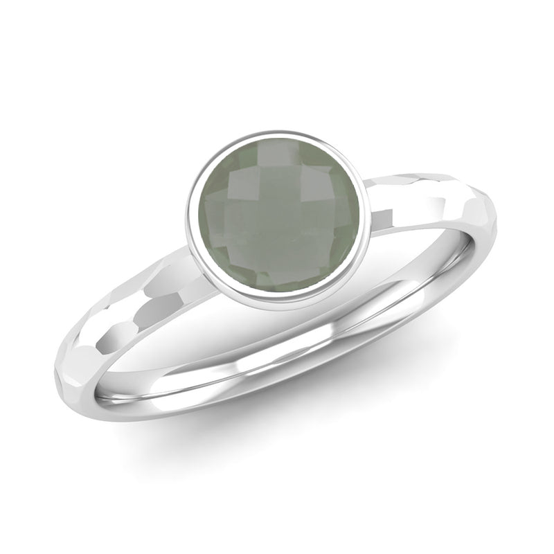 Ethically-sourced Platinum JOY Green Amethyst Stacking Ring - Jeweller's Loupe