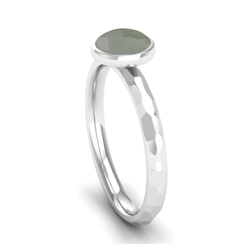 JOY Green Amethyst Hammered-effect Stacking Ring - Jeweller's Loupe