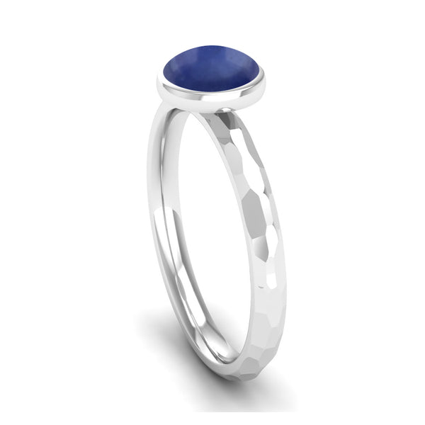 JOY Kyanite Hammered Effect Stacking Ring in Ethically-sourced Platinum, Jeweller's Loupe Hope Collection