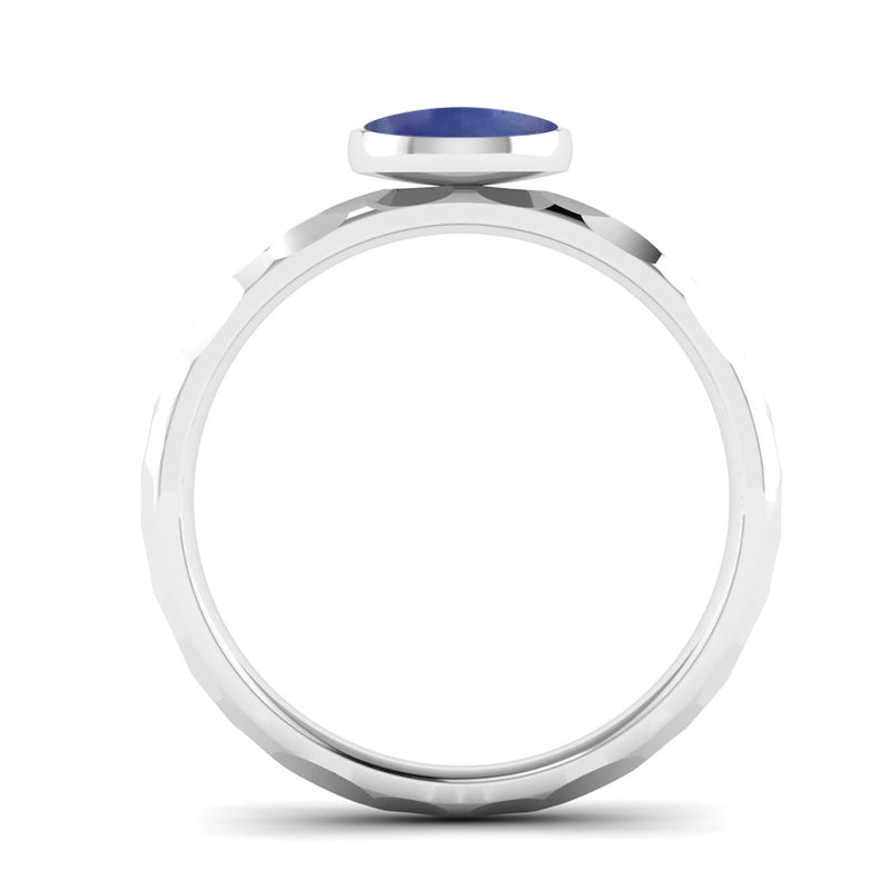 JOY Kyanite Hammered-Effect Stacking Ring in Fairtrade White Gold, Jeweller's Loupe Hope Collection