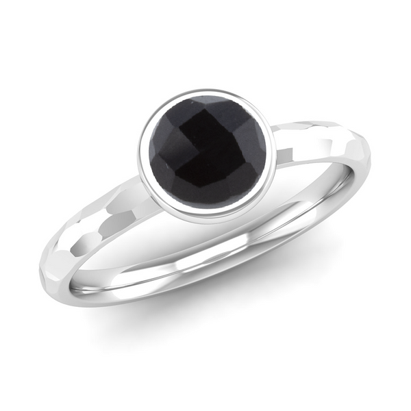 JOY Onyx Hammered-effect Stacking Ring - Jeweller's Loupe