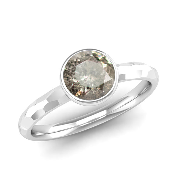 JOY Salt and Pepper Diamond Hammered-effect Stacking Ring - Jeweller's Loupe