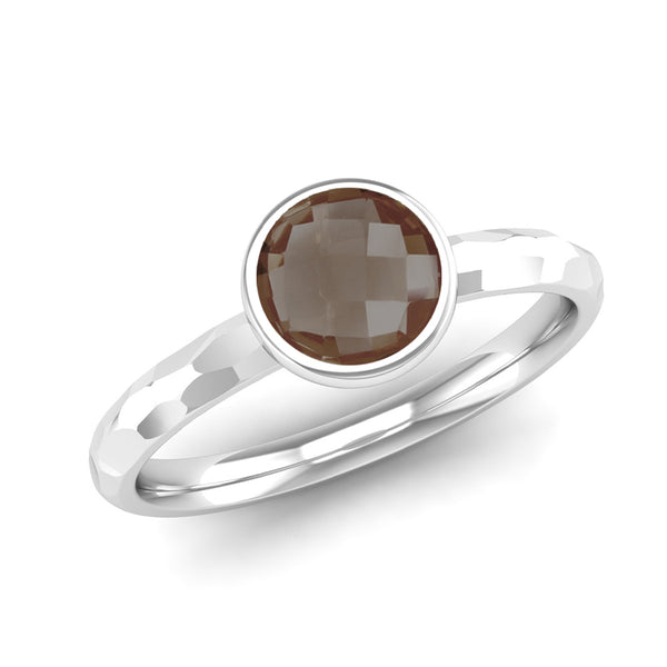 JOY Smoky Quartz Hammered-effect Stacking Ring - Jeweller's Loupe