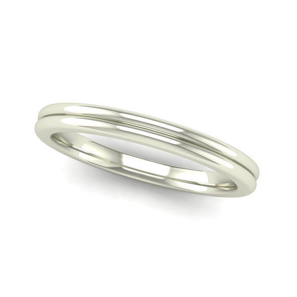 Fairtrade White Gold TRUST Double Band Stacking Ring