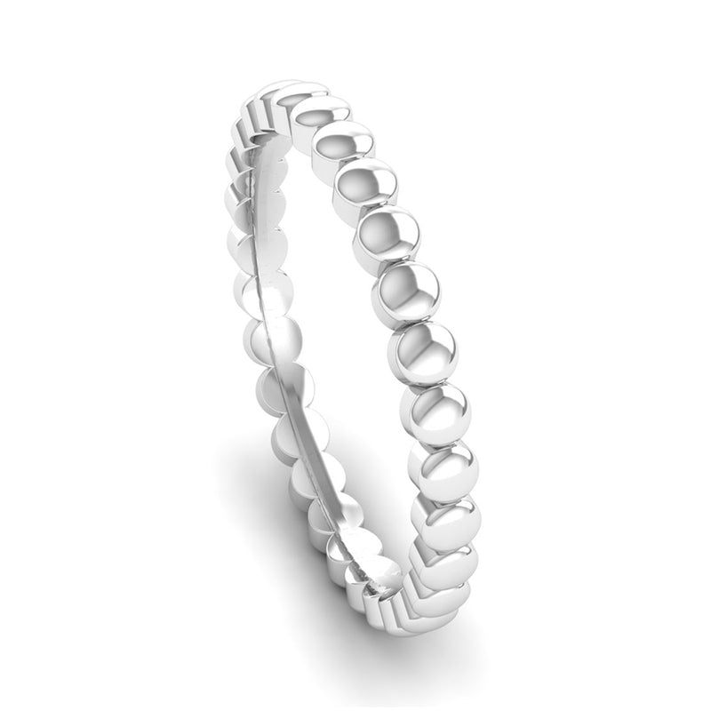 Ethically-sourced Platinum FAITH Beaded Stacking Ring - Jeweller's Loupe