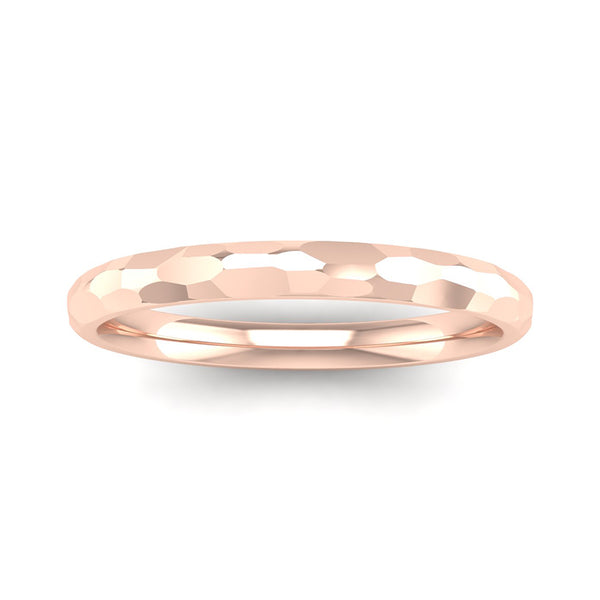 Fairtrade Gold JOY Hammered-effect Stacking Ring - Jeweller's Loupe