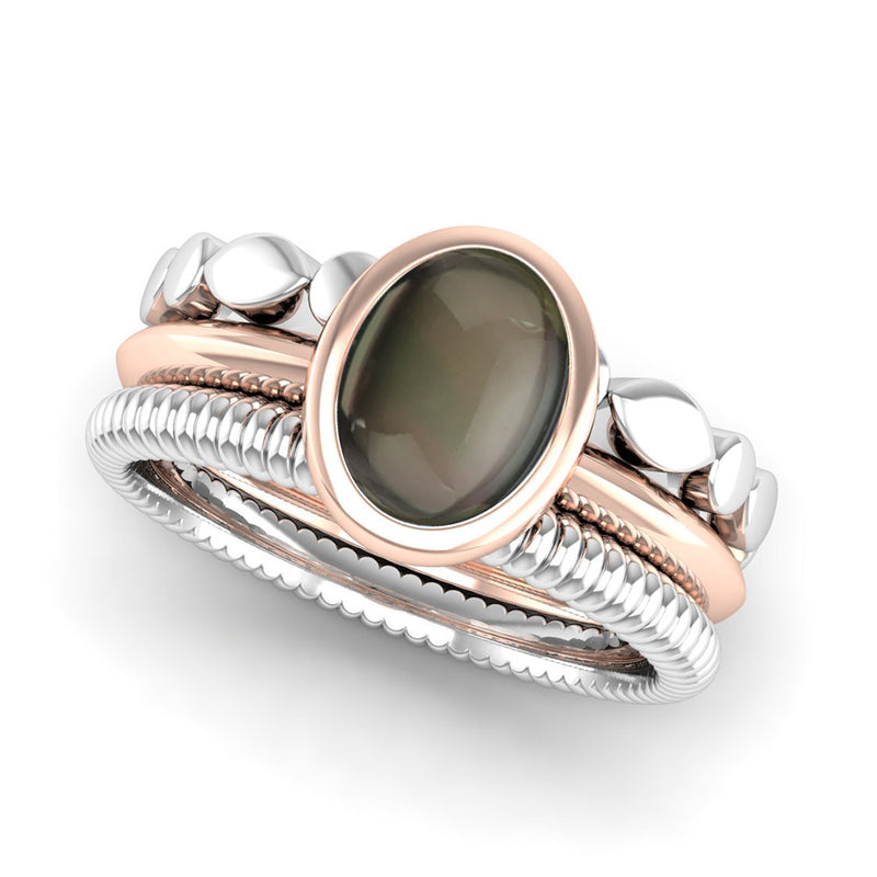 Ethically-sourced Platinum DESIRE Smoky Quartz Triangle Band Stacking Ring - Jeweller's Loupe