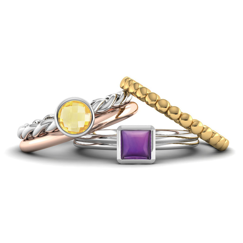 Fairtrade Silver TRUST Amethyst Stacking Ring - Jeweller's Loupe