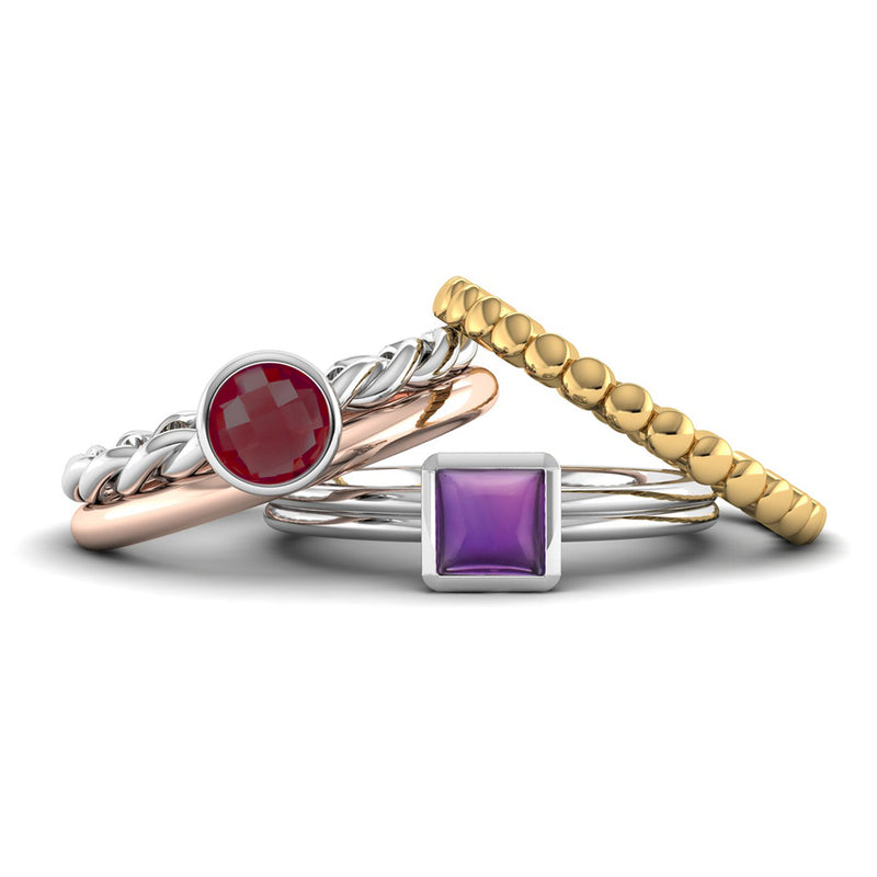 Fairtrade Silver DREAM Garnet Stacking Ring - Jeweller's Loupe