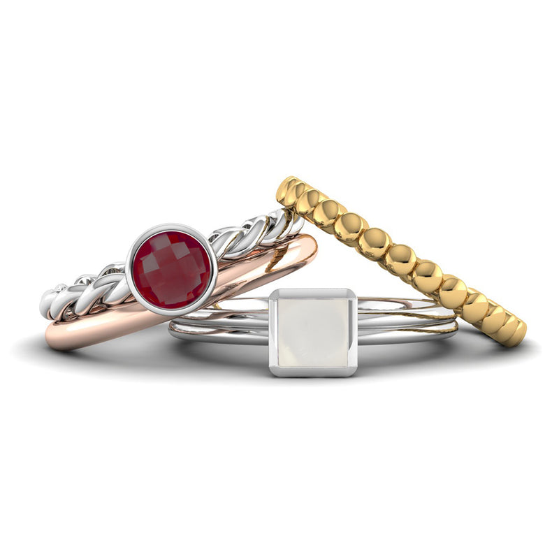 Ethically-sourced Platinum DREAM Garnet Stacking Ring - Jeweller's Loupe