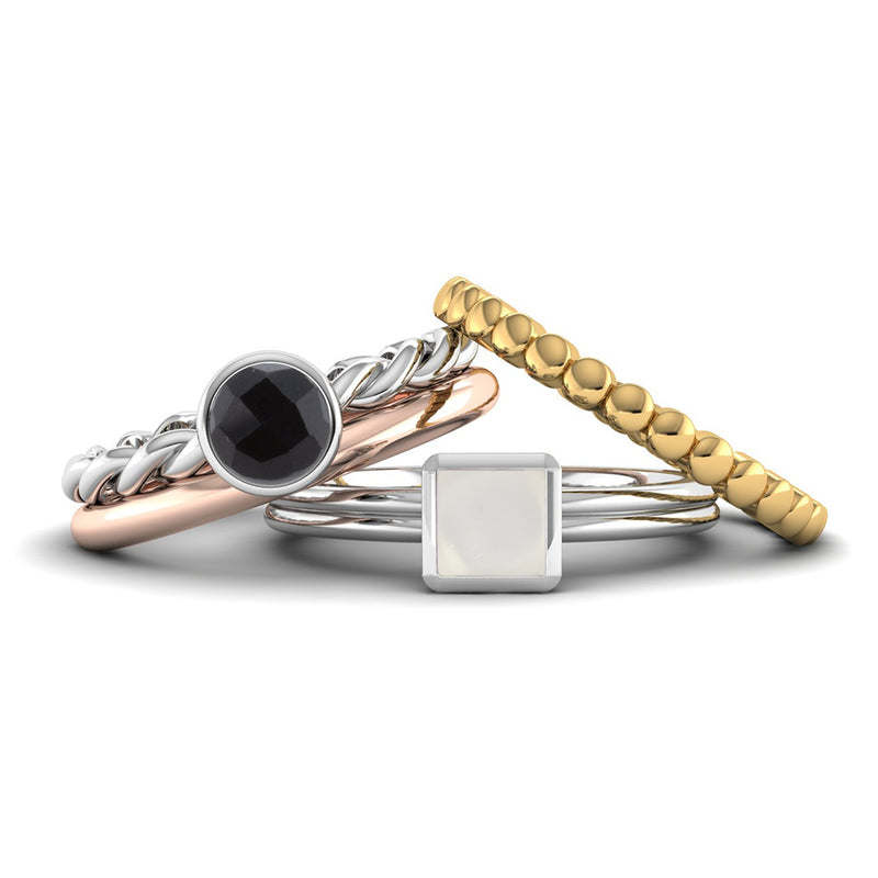 Fairtrade Silver DREAM Onyx Stacking Ring - Jeweller's Loupe