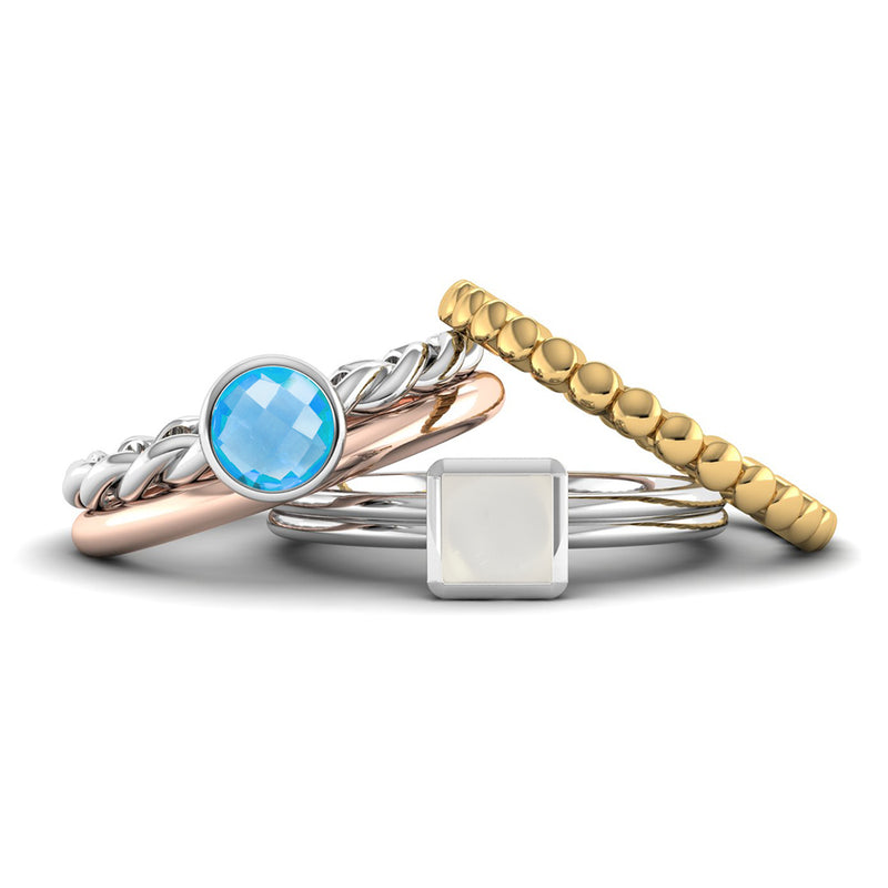 Ethically-sourced Platinum DREAM Blue Topaz Stacking Ring - Jeweller's Loupe