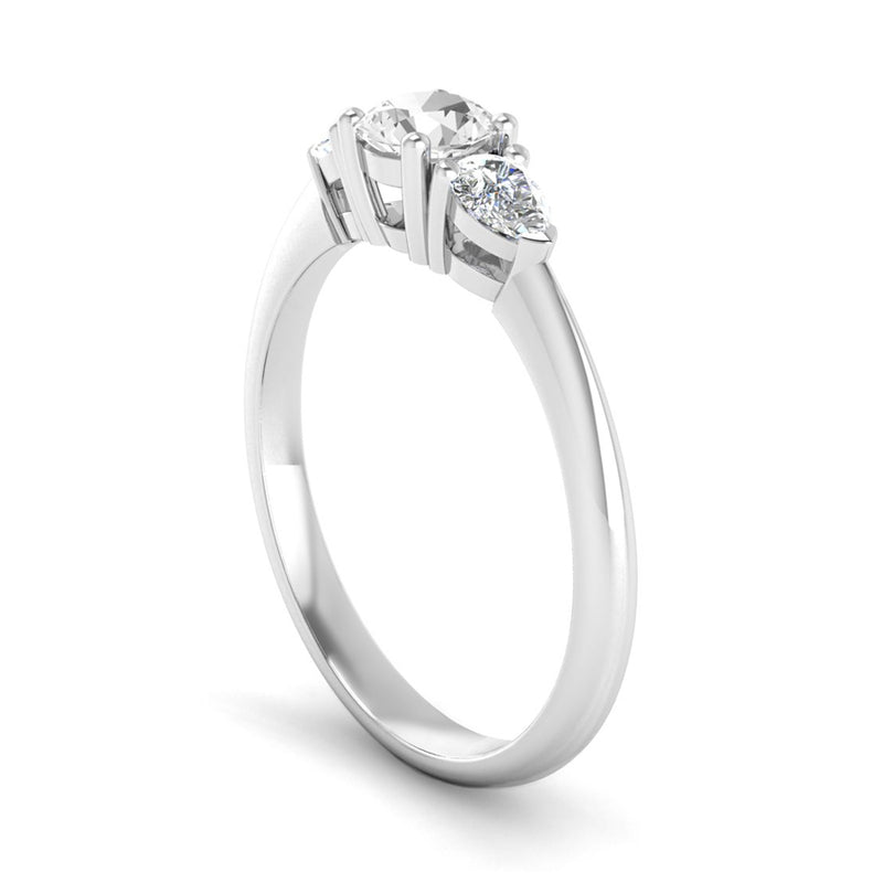 Round Brilliant and Pear Cut Diamond Trilogy Engagement Ring with Tapered Shoulders - Jeweller's Loupe
