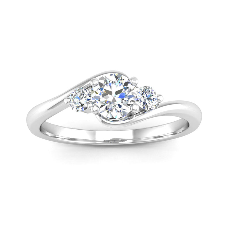 Crossover Round Brilliant Cut Diamond Trilogy Engagement Ring - Jeweller's Loupe
