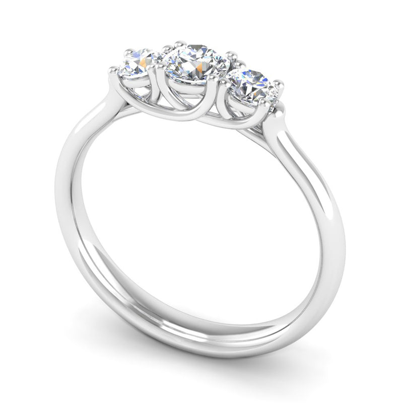 Round Brilliant Cut Diamond Trilogy Engagement Ring with Kiss Settings - Jeweller's Loupe