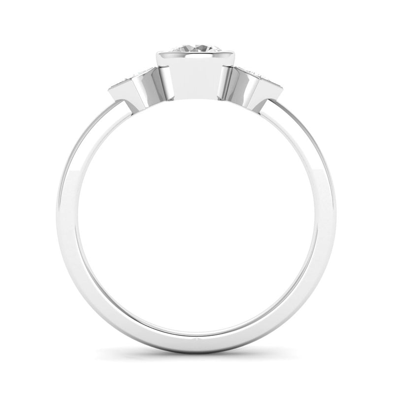 Rub Set Round Brilliant and Princess Cut Diamond Trilogy Engagement Ring - Jeweller's Loupe