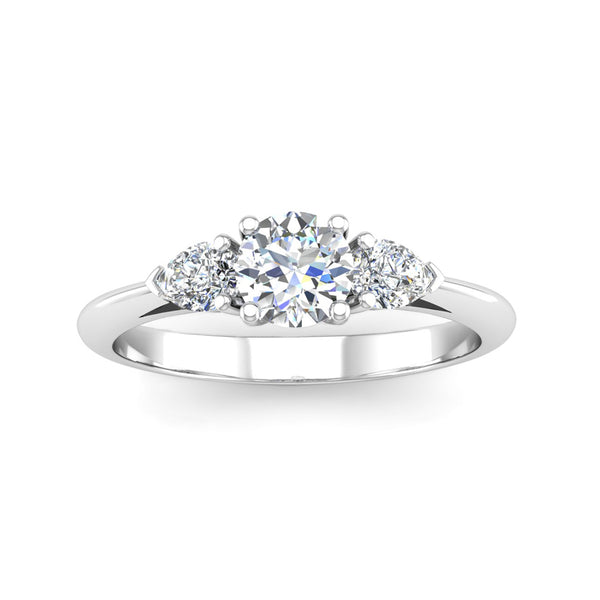 Round Brilliant and Pear Cut Diamond Trilogy Engagement Ring with Split Shoulders - Jeweller's Loupe
