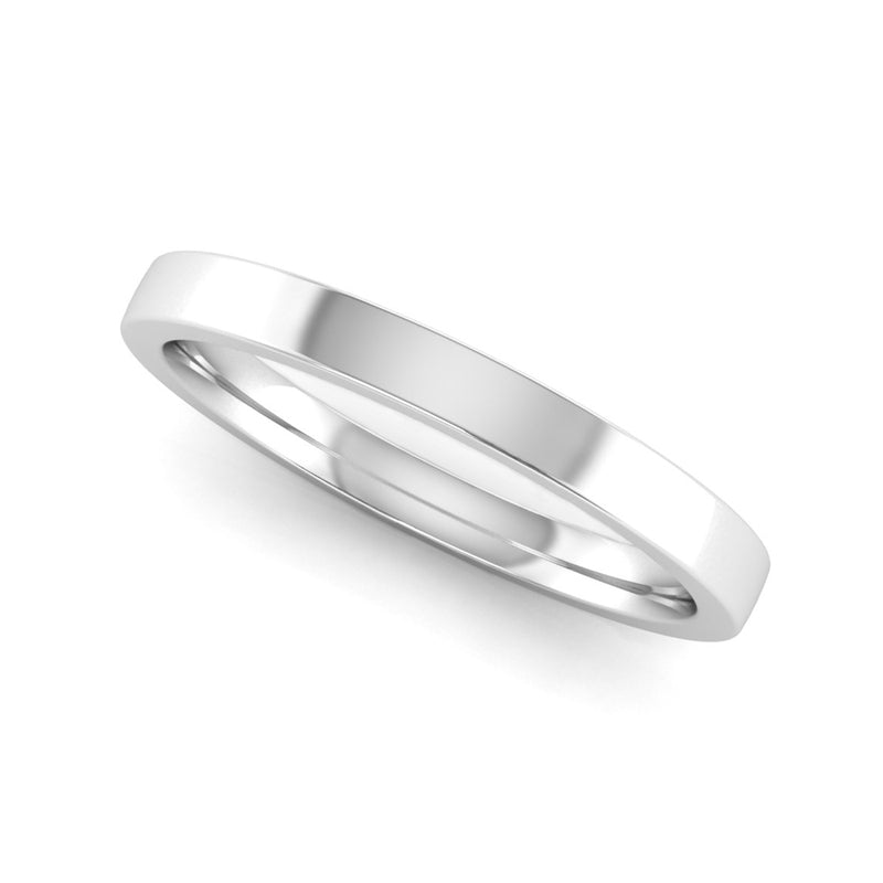 Fairtrade White Gold 2mm Flat Court Wedding Ring - Jeweller's Loupe
