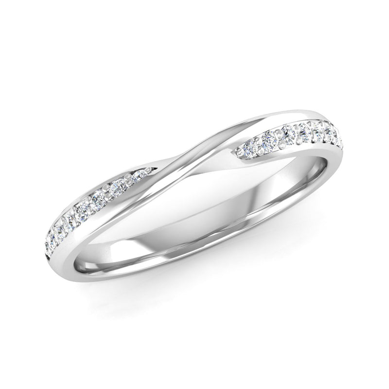 Ethically-sourced Platinum Diamond Set Twisted Wedding Ring - Jeweller's Loupe