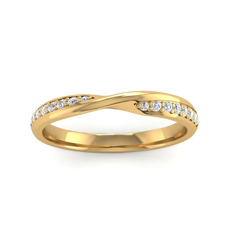 Fairtrade Yellow Gold Diamond Set Twisted Wedding Ring - Jeweller's Loupe