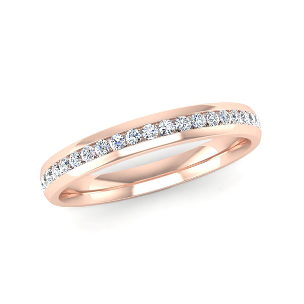 Fairtrade Rose Gold Half Channel Set Diamond Eternity Ring - Jeweller's Loupe