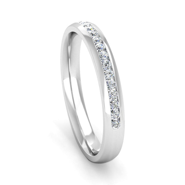 Ethically-sourced Platinum Half Channel Set Diamond Eternity Ring - Jeweller's Loupe