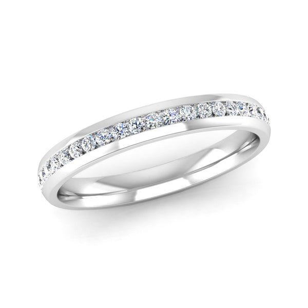 Half Channel Set Diamond Wedding Ring - Jeweller's Loupe