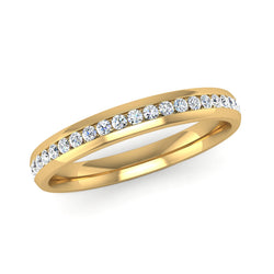 Fairtrade Yellow Gold Half Channel Set Diamond Wedding Ring - Jeweller's Loupe