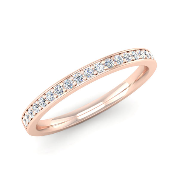 Fairtrade Rose Gold Grain Set Diamond Eternity Ring with Border - Jeweller's Loupe