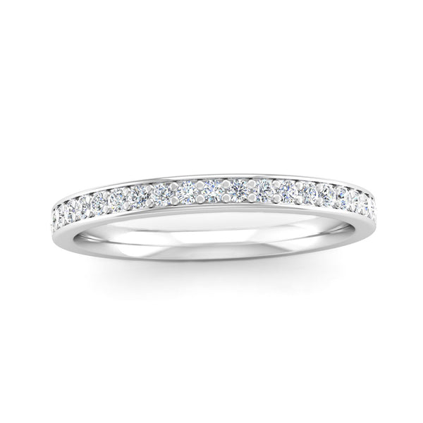 Fairtrade White Gold Grain Set Diamond Eternity Ring with Border - Jeweller's Loupe