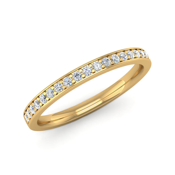 Fairtrade Yellow Gold Grain Set Diamond Eternity Ring with Border - Jeweller's Loupe