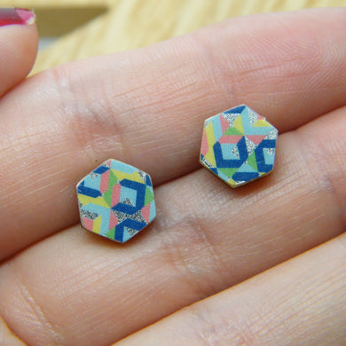 Abstract hexagon stud earrings