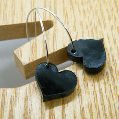 Black heart hoop earrings