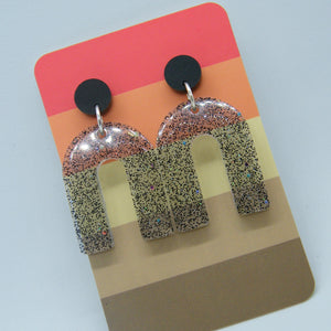 Handmade black holographic arch earrings