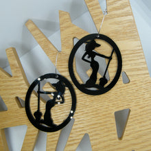 Load image into Gallery viewer, Black witch hoop earring