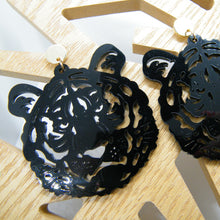 Load image into Gallery viewer, Black tiger statement earrings