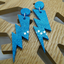 Load image into Gallery viewer, Blue glitter lightning bolt earring