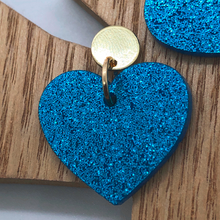 Load image into Gallery viewer, Gold and blue heart earrings