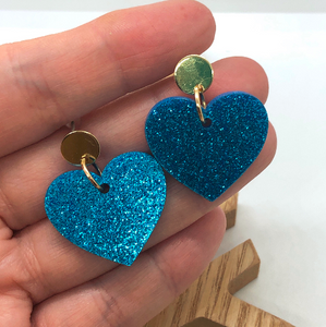 Gold and blue heart earrings