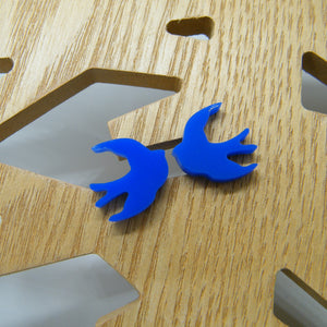 Blue swallow stud earrings