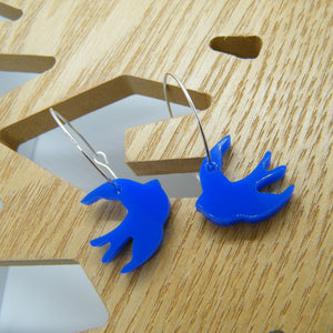 Blue swallow hoop earrings